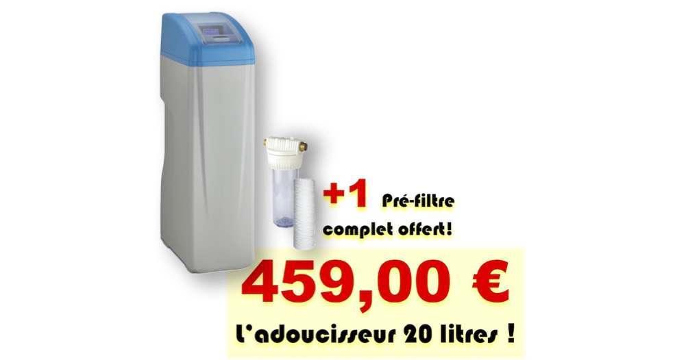 ADOUCISSEUR PROMO 20 litres avec pré-filtre à cartouche 20 microns